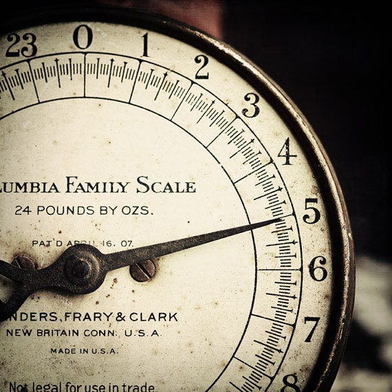 Number Art - 5 - Five - Vintage Scale Photograph - Family Room Art - Mother's day gift 8x8 - Family home decor - Antique, whimsical, rustic.