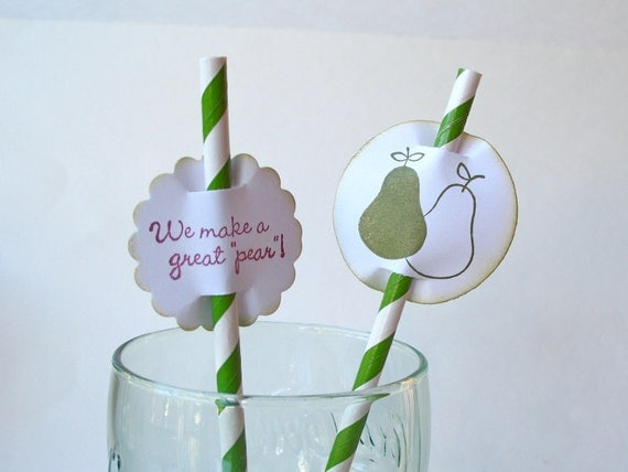 "Paper Drinking Straws and Flags ""We Make a Great Pear"" - 12 Total"