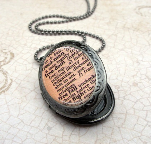 SALE Freedom Dictionary Locket Necklace - Glass Dome Pendant Gunmetal, Picture Locket, Photo Locket, Vintage Style Locket by Lizabettas