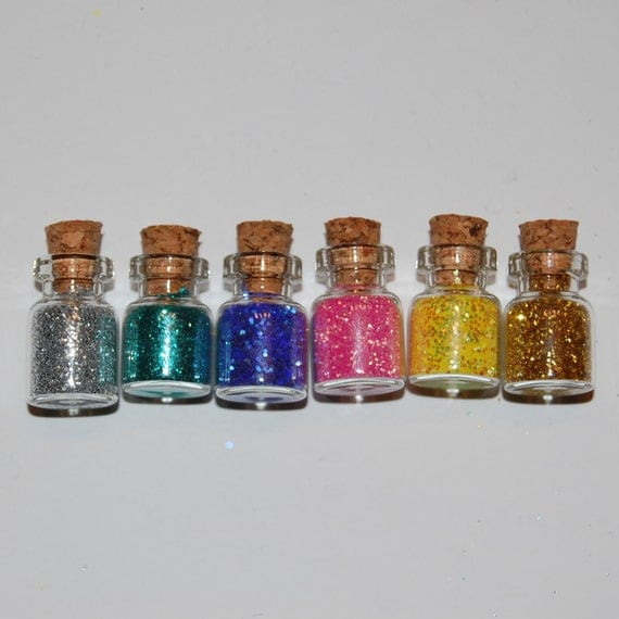 Miniature Glitter Sampler 6 Bottles with Cork