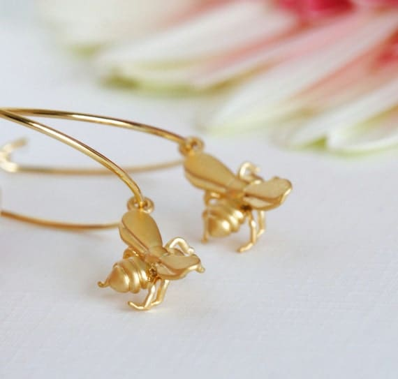 Honey Bee Hoop Earrings - Gold Plated Hoops With Tiny Matte Gold Honey Bees