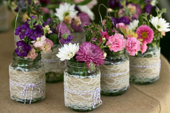 Burlap and Lace Hanging Mason Jar Wedding Decoration