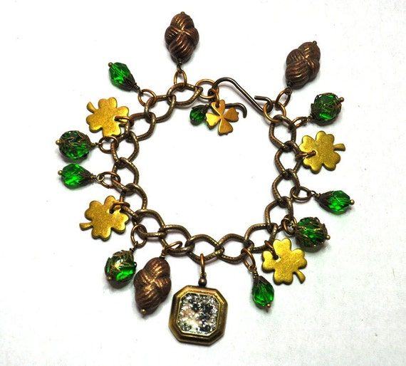 Vintage Assemblage Luck of the Irish St. Patrick's Day Shamrock Four Leaf Clover Charm Bracelet