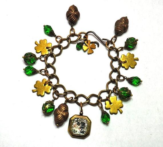 Vintage Assemblage Luck of the Irish St. Patrick's Day Shamrock Four Leaf Clover Charm Bracelet