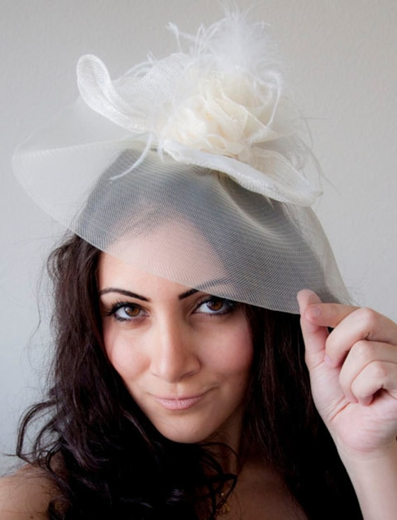 Large Ivory Couture English Hat Fascinator Headband for Weddings Parties