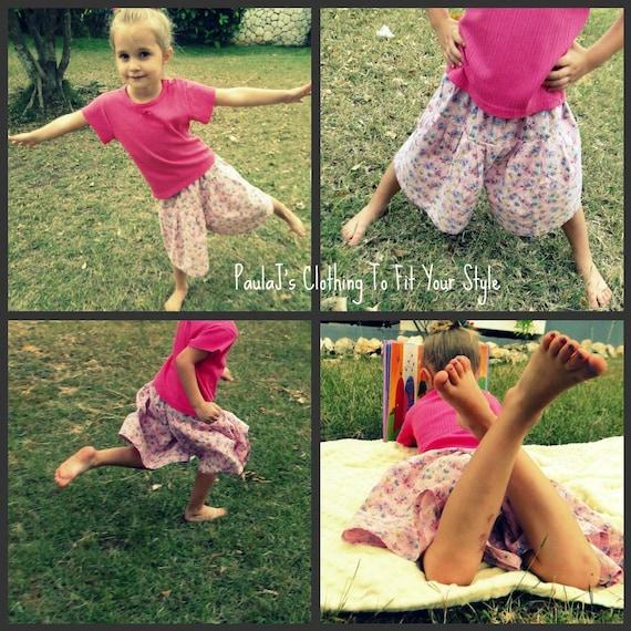 Culottes Modest Split Skirt Grape Print Size 4