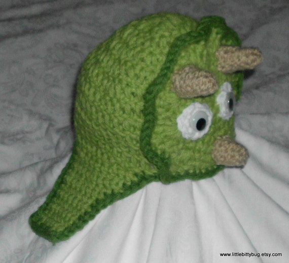 Crocheted dinosaur hat