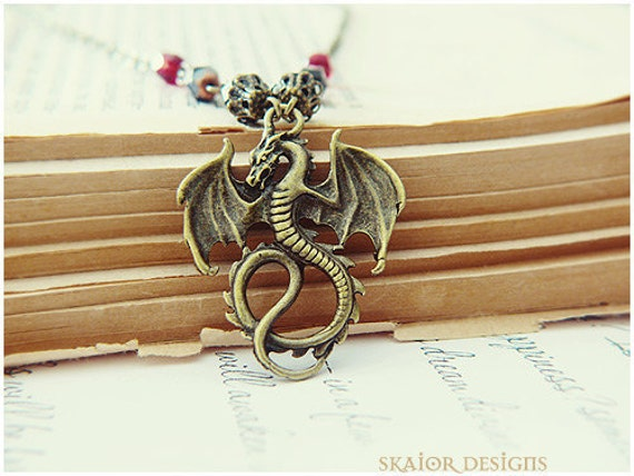 Gothic Necklace Dragon Dark Noir Wedding Bridal Bride Groom