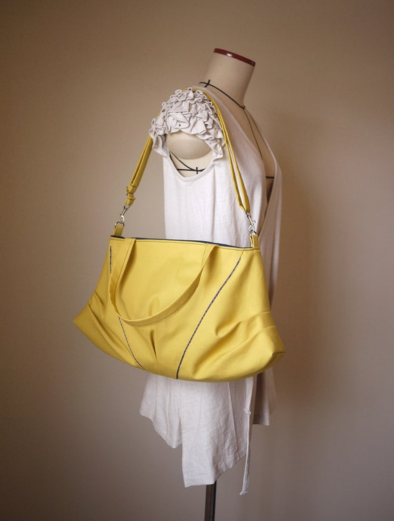 Canvas Tote & Cross Body Bag in Mustard Yellow Vegan Bag