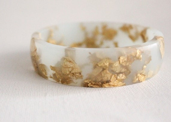 frost mint eco resin bangle bracelet with suspended gold leaf