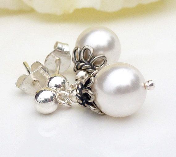 Everything In Between Bridal pearl earrings pearl drop earrings