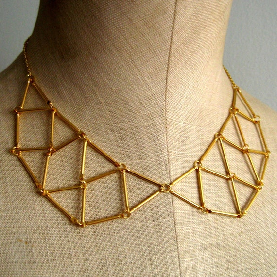 Webbed Geometric Peter Pan Collar Necklace, Gold