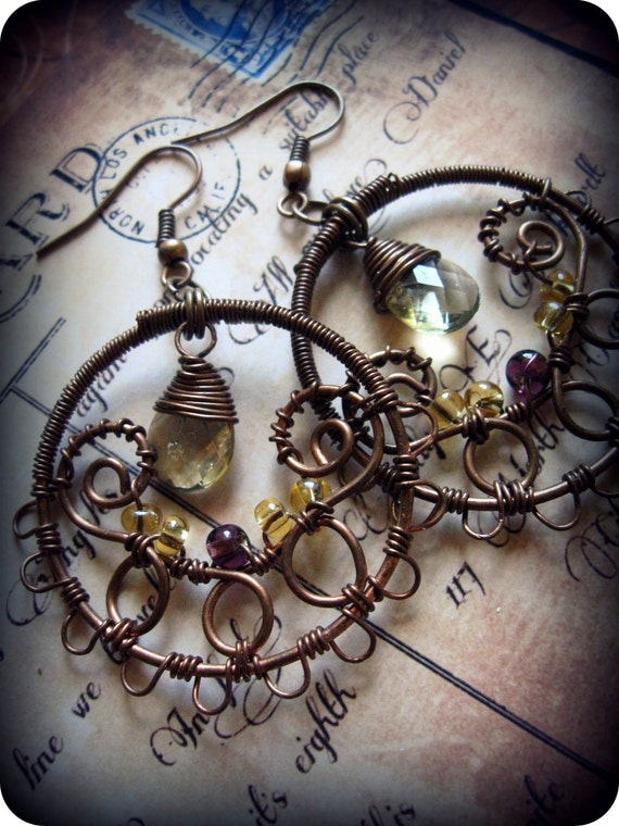 Wire Wrapped Copper Filigree Dangle Hoop Earrings with Czech Glass