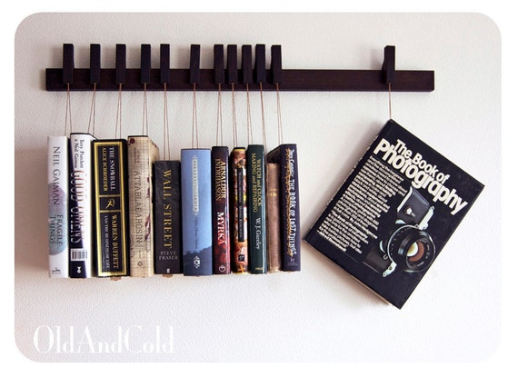 RESERVED - Custom made wooden book rack in Wenge. Movable pins.The pins also work as bookmarks.
