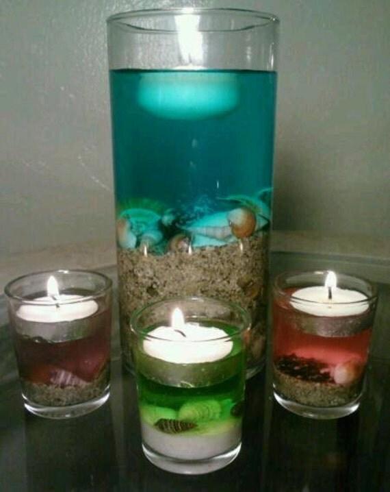 Beach Wedding Centerpiece Glass Vase Tealight Candle Holder