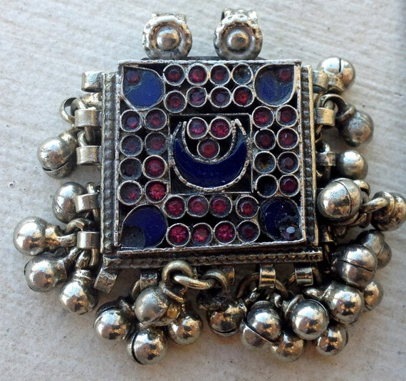Small Tribal Kuchi Pendant (18): Half Moon, Tribal Fusion Belly Dance, Assemblage