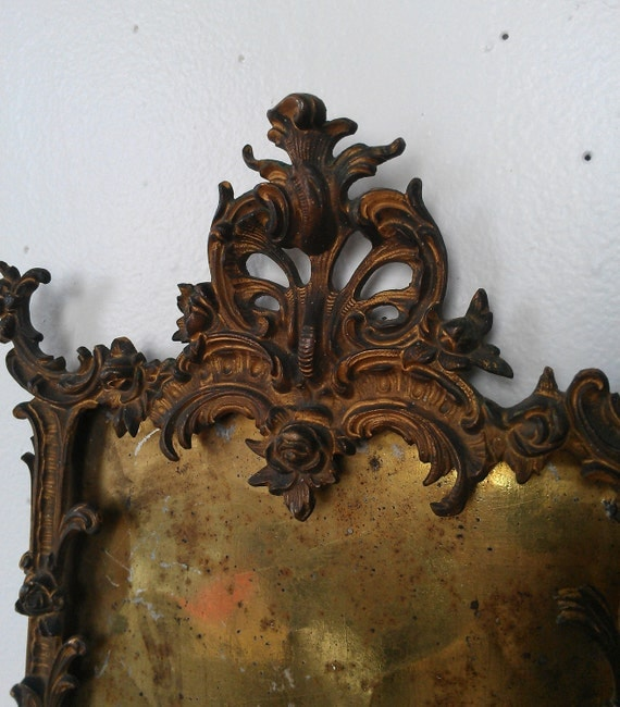 Antique Brass Picture Frame Gothic Revival Design Dated 1894