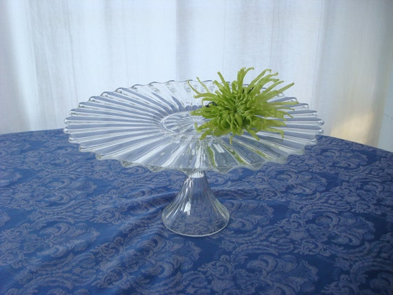 Lovely cake stand made with repurposed glass.  Wedding cake stand.  Short pedestal cake stand.  Repurposed glass.  Upcycled.