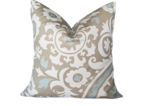 ONE Suzani Powder Blue Pillow Decorative Pillow Cover Tapue/Aqua 18 X 18 Inch