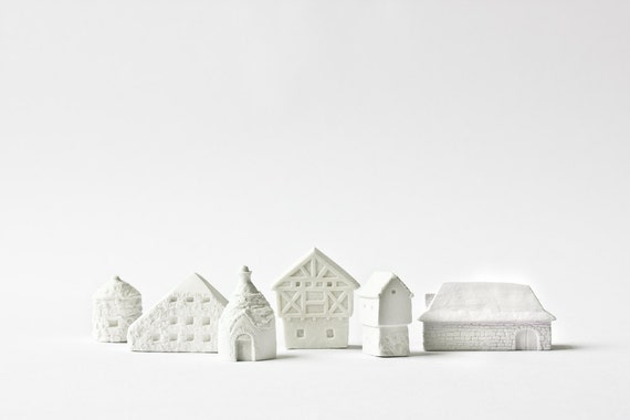 Clay Architecture Set - Ceramic clay houses by Artisanie Europe - pure white home decor modern wedding favors