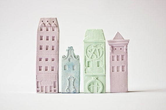 Clay Architecture Set - Ceramic clay houses by Artisanie Europe - pastel modern contemporary art