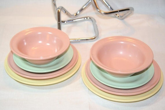Mid-Century Russel Wright MELADUR (2x 4 Item Place Settings)