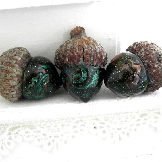 Teal and Copper Acorns Rustic Wedding Table Decorations Favors Handmade