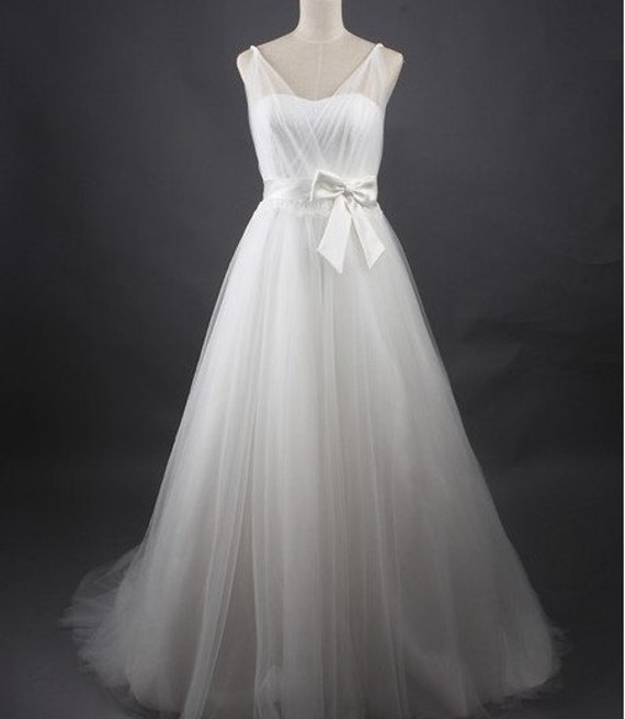 Custom make Vintage Wedding Dress A LINE Bridal Gown Bridesmaid Mermaid V Neck Lace Flower White Organza Bow Sash Formal Evening Dress