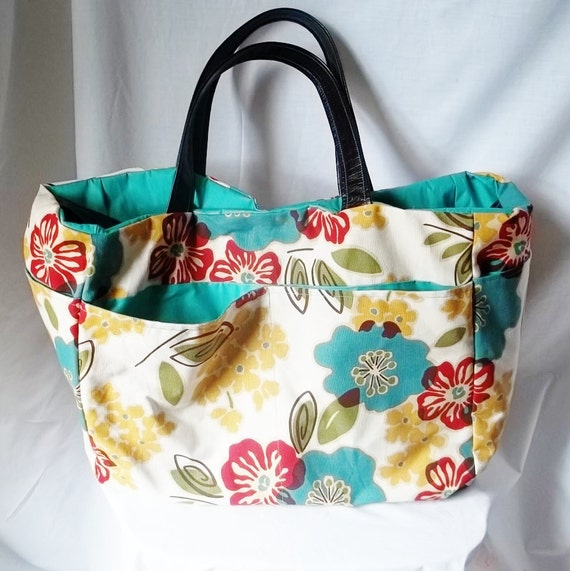 Large Beach Bag - Flower print beach bag - Summer Tote bag - Customized Handbags