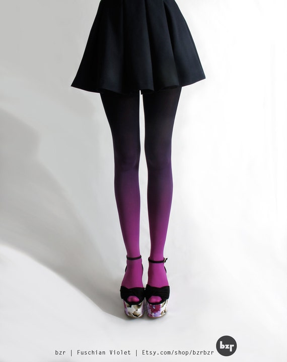 bzr Hand-dyed Ombré Tights in Fuschian Violet