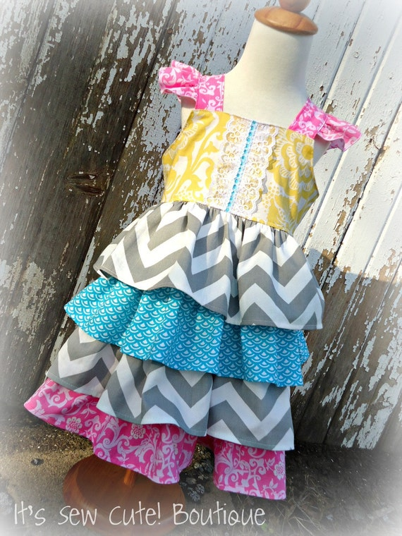 The Avah Dress Tiered Ruffle Reverse Knot Dress Tuquoise Pink Yellow Gray Chevron Flutter Straps Birthday Spring Summer