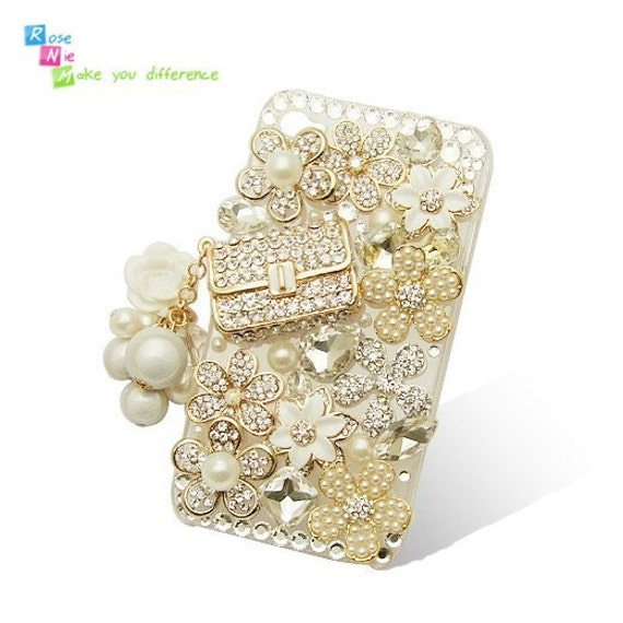 iPhone 4 case, iPhone 4s case, case for iPhone 4 mobile case handmade: Bling 3D luxury flower and handbag (custom are welcome)