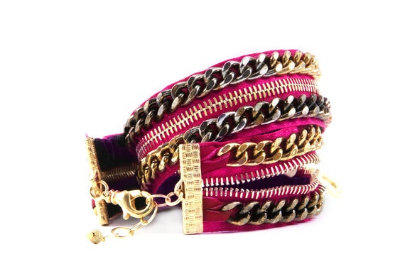 Hot Pink Double Wrap Zipper Bracelet- Zipper Jewelry-Free Shipping