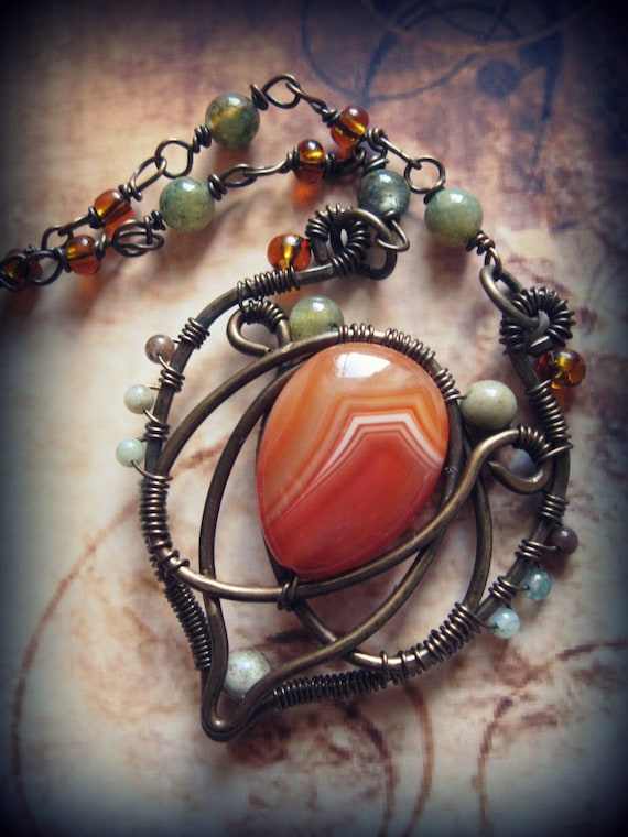 Handforged Wire Wrapped Copper  pendant with Carnelian, agate and seed beads (necklace, leaf, heart, orange, earthy, warm, handmade chain)