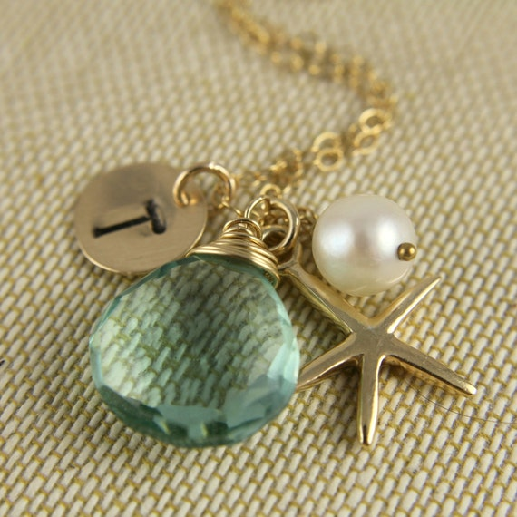 Beach Wedding Bridesmaids Gift, Monogram Necklace, Sea Green Chalcedony, Gold Starfish, Personalized Initial Gift, Pearl, Mothers Day Gift
