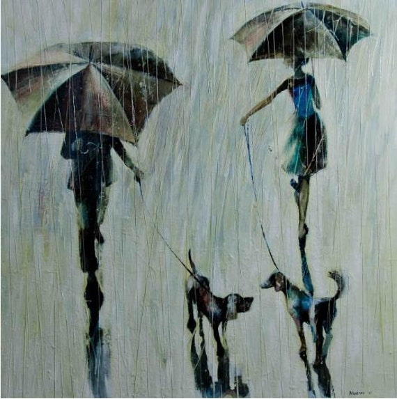 Two people, two dogs and rain. 2011      Original  Oil painting printed on  Canvas  95.00