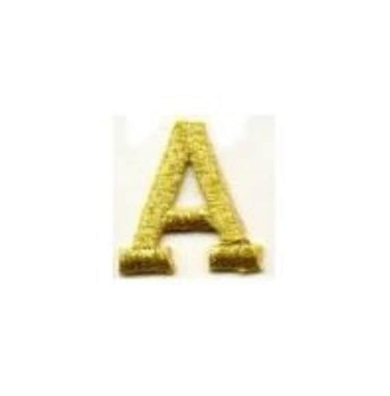 Block LETTERS Black or Metallic Gold 1 inch tall Alphabet Applique Patches A B C D E F G H I J K L M N O P Q R S T U V W X Y Z ETSY