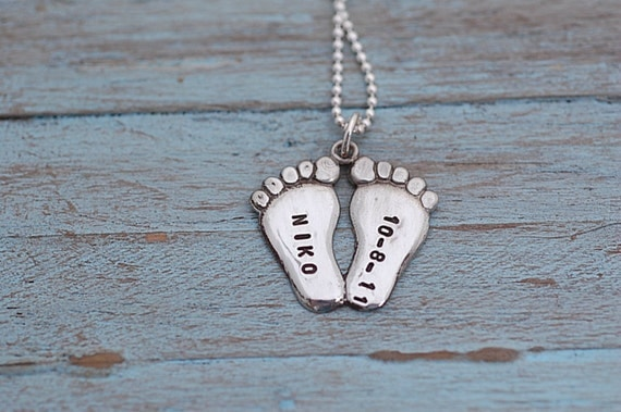 Hand Stamped Baby Feet Personalized Charm - NEW DESIGN