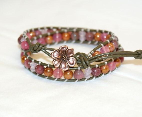 Rhodonite, Pink crystals Bohemian beaded leather wrap bracelet, 2x Wrap bracelet, boho chic, Chan Luu style