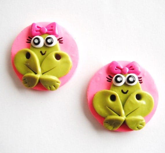 Button Twin Girly Frogs handmade polymer clay buttons ( 2 )