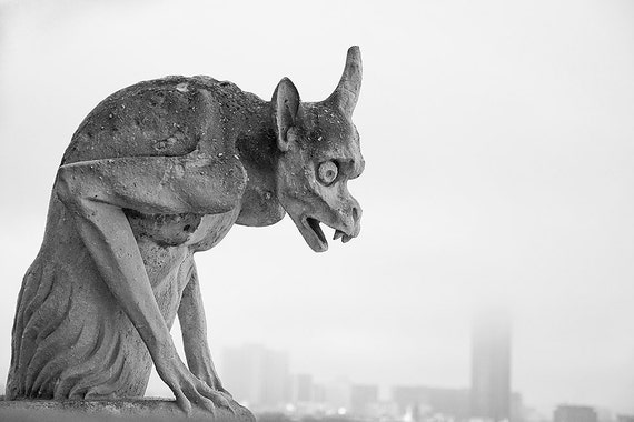 Black and White Paris France Decor Photograph Gargoyle ... at Notre Dame 8x12