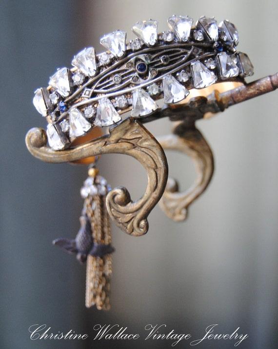 "Bringin ""на Bling - Vintage Сборка Art Deco Rhinestone кисточкой Браслет-манжета"