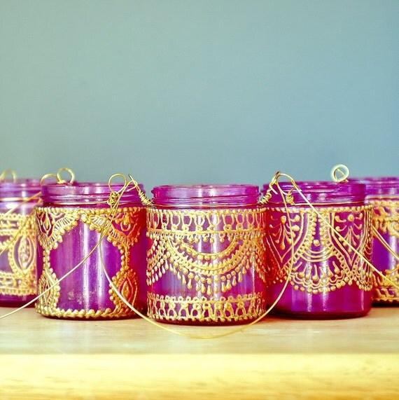 Подвесной подсвечник Вдохновленный Фонари Марокко, ярко-розовый Тонированные стекла с золотой Акценты