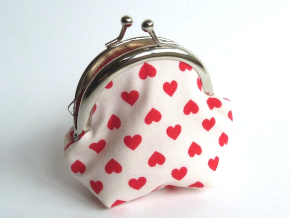 Red and White Love Heart Coin purse - iPod Earbud Case