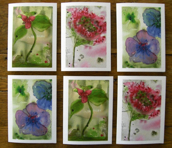 Wildflower Greeting Cards Set of Six Woodland Botanical Art Prints