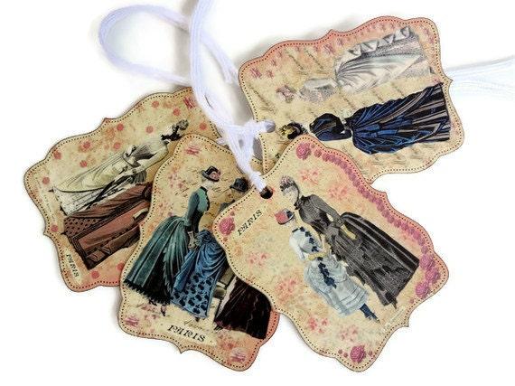 Париж подарков Теги моды в Париже теги, метки викторианской моды, потертые Inspired французский Теги Комплект из 4