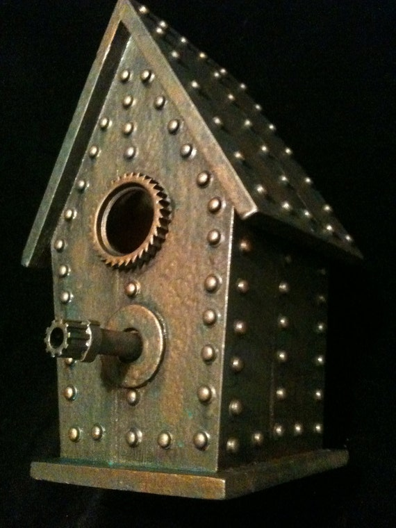 Industrial Steampunk Birdhouse Bronze copper Oddity Sculpture Statue Assemblage