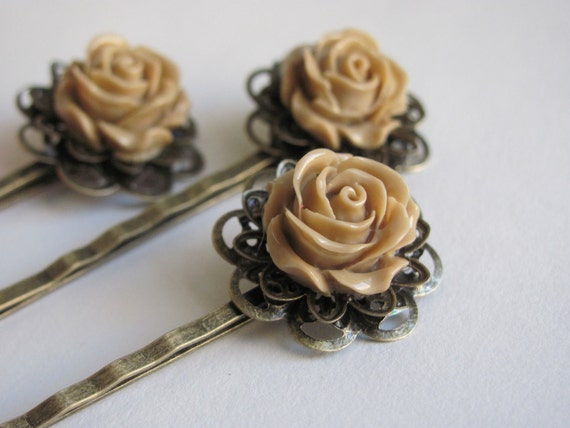 SET OF 3 - Mocha bobby pins (Vintage style)