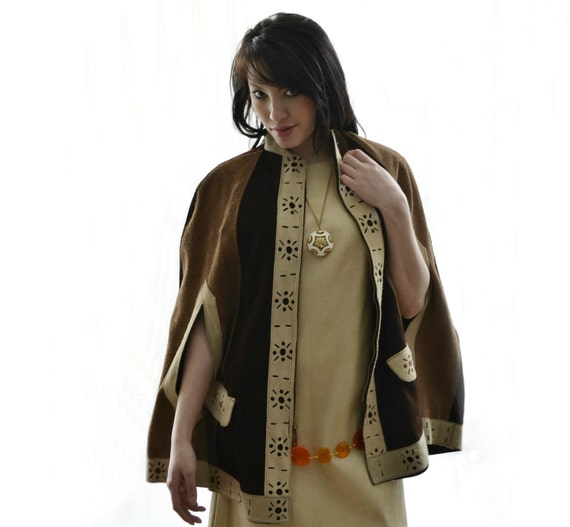Hippie Cape Vintage 60s Suede Poncho Brown and Tan by empressjade from etsy.com