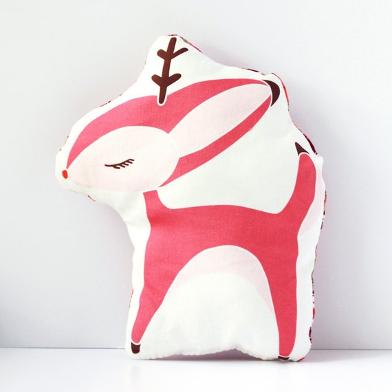Deer Pillow in Pink MADE TO ORDER